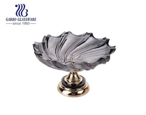 طلاء غاربو الأيوني معالج 12.6 بوصة وعاء فواكه زجاجي أزرق اللون مع حوامل ذهبية اللون
