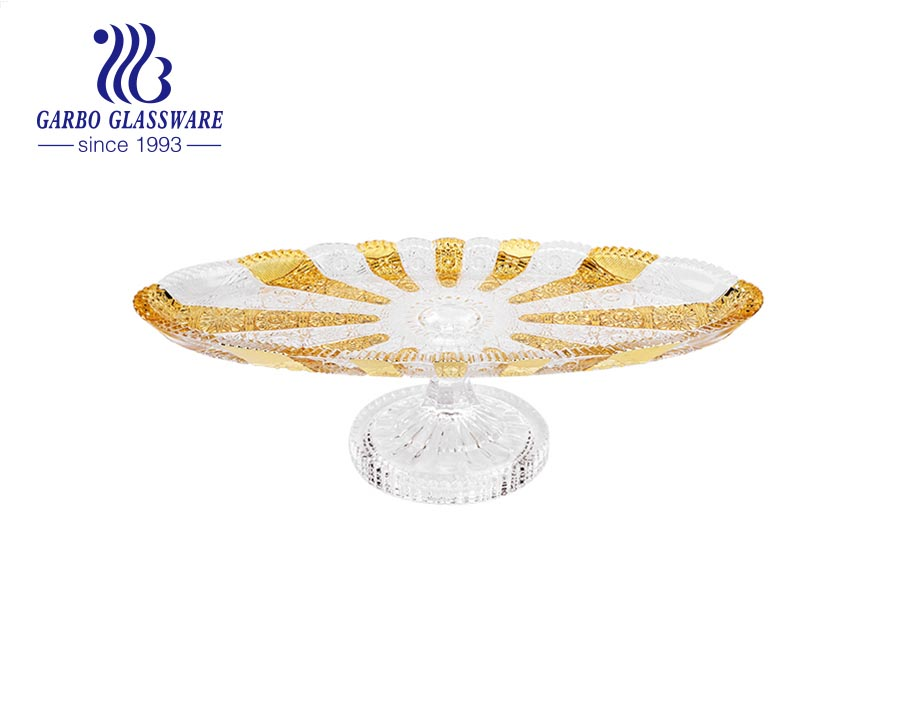 Garbo ion plating processed 12.6 inches blue color glass fruit bowl with golden color stands
