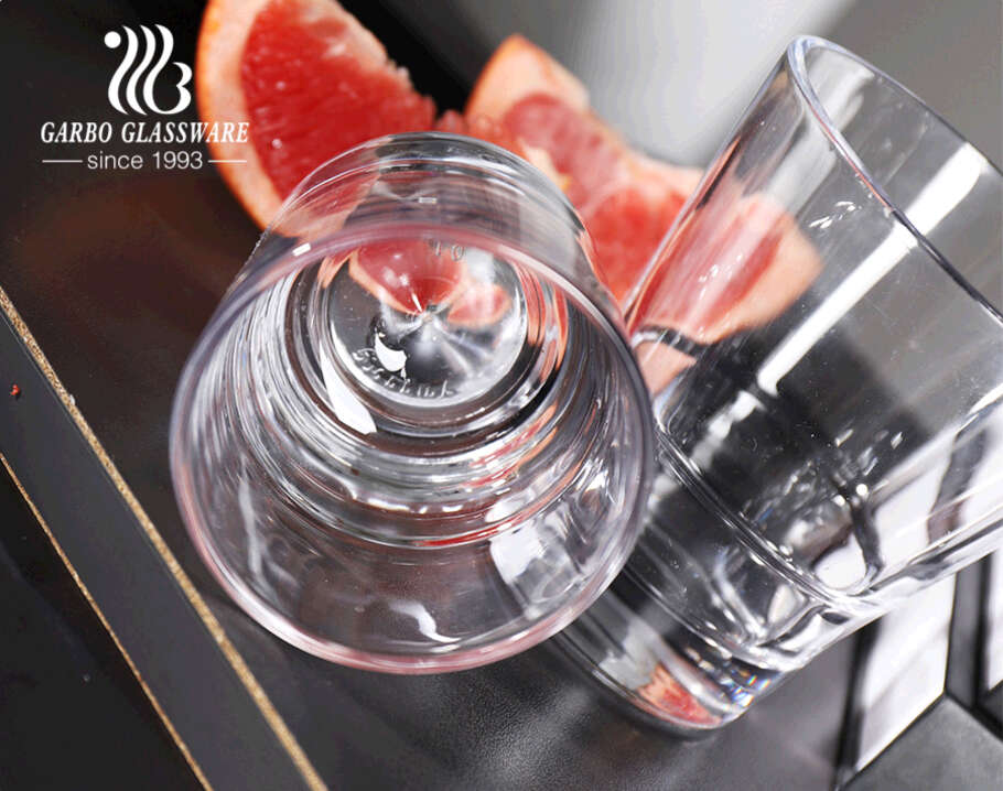 Premium glass tumbler with thickened base for whisky brandy spirit serving