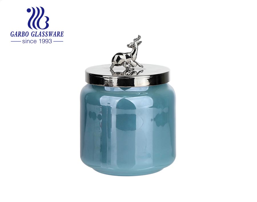 530 ml blue colored glass candle jars holder with metal lids