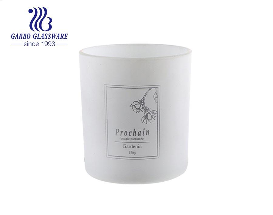 حاوية شمعة معطرة 340 مل برطمان زجاجي منقوش بغطاء من الصفيح وملصق تحذير مخصص