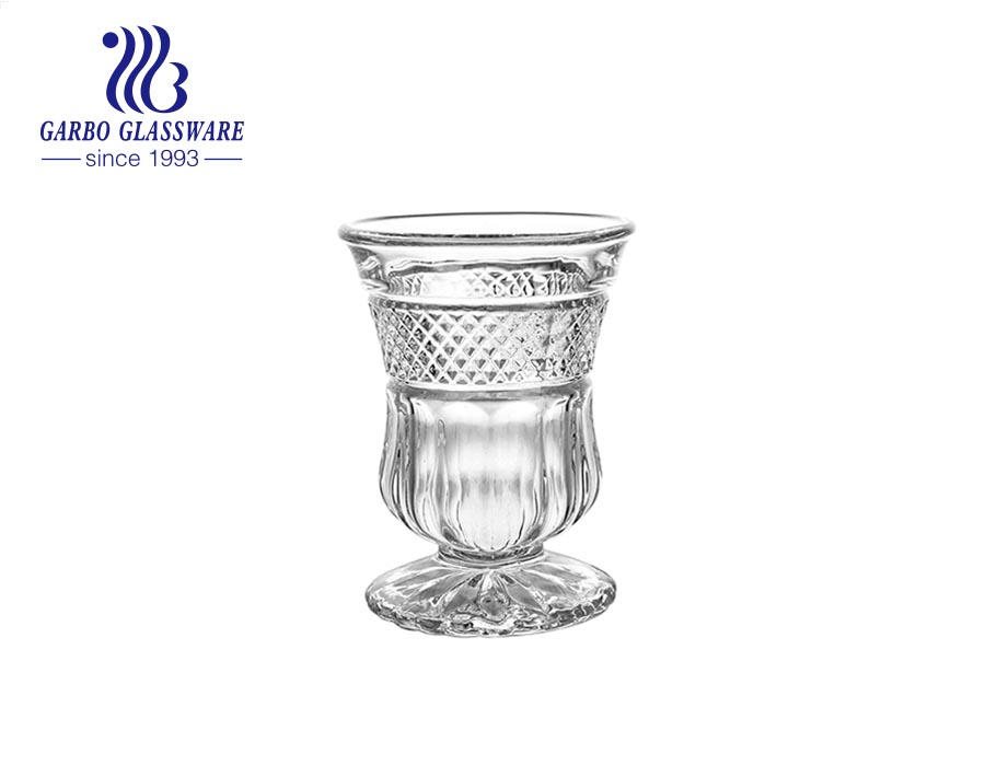 Turkey Arabic style 2oz engraved glass cup with short stem for tea serving