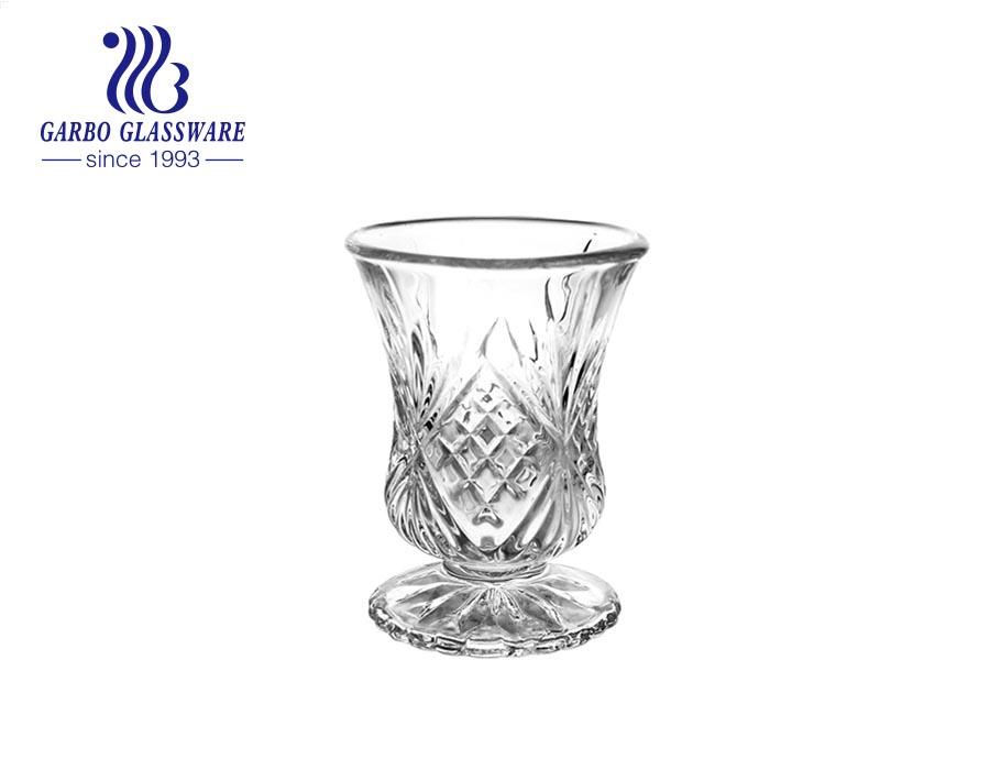 Tách thủy tinh khắc 2oz theo phong cách Ả Rập Thổ Nhĩ Kỳ có thân ngắn dùng để phục vụ trà