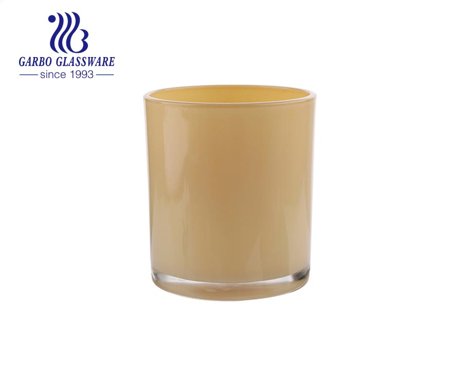 Wholesale cheap yellow frosted glass round candle holders tumblers