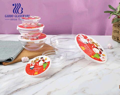 طقم صحن سلطة زجاجي بتصميم الكريسماس مكون من 5 قطع مع غطاء بلاستيكي للسلطة وتخزين الطعام