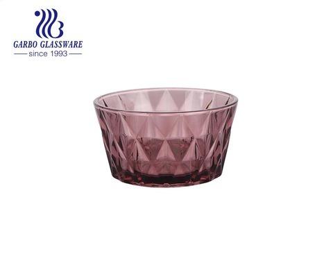 400ML Wholesale classical hot sale solid colored purple diamond design glass salad bowl