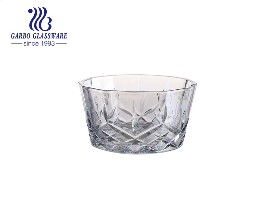 400 مللي الجملة الكلاسيكية الساخن بيع الصلبة الملونة الأرجواني الماس تصميم صحن سلطة الزجاج