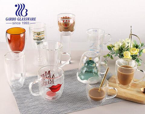 新しいコレクション耐熱性ホウケイ酸二重壁ガラスカップハンドル付き