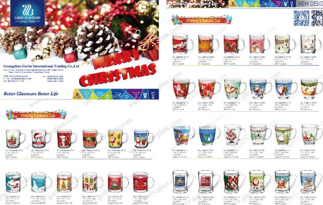 Promotional glassware with printing for Christmas Festival