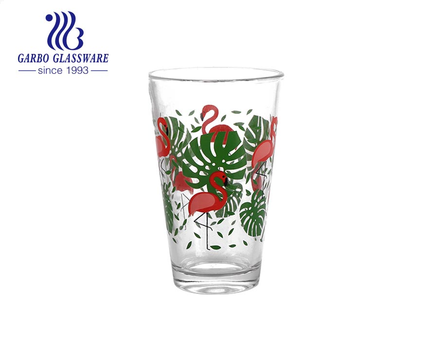 Cheap price 11oz V shape glass tumbler with passion series decal
