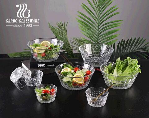 Garbo popular engraved design crystal glass salad bowl sets fruit bowls with gift box packed