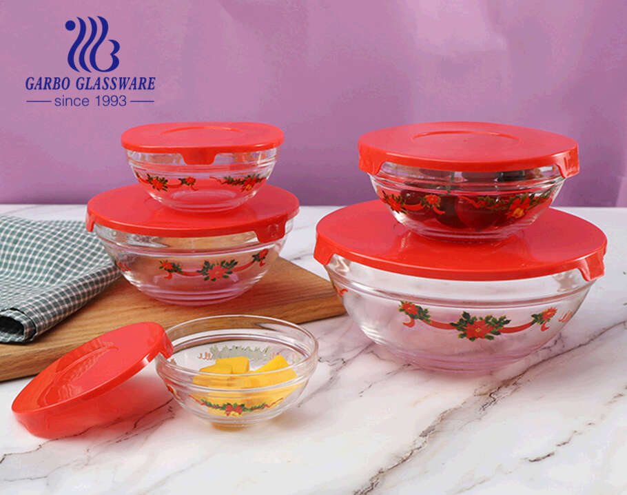 Decorated Christma design 5pcs glass salad bowl sets for Christmas Promotion gifts