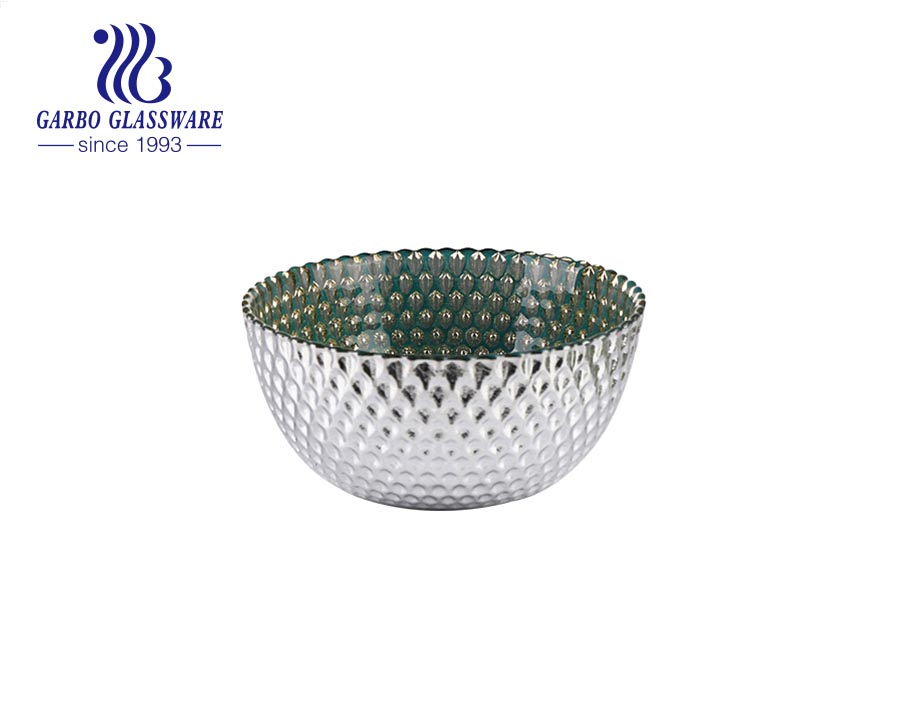 Factory unique olive green colored glass salad soup round bowl with white decorative pattern for dinner table