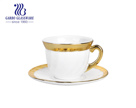 Heat-resistant golden opal glass tea cup with saucer set