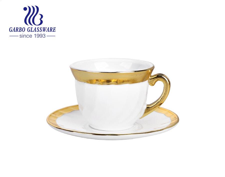 Tách trà thủy tinh opal vàng chịu nhiệt với bộ đĩa