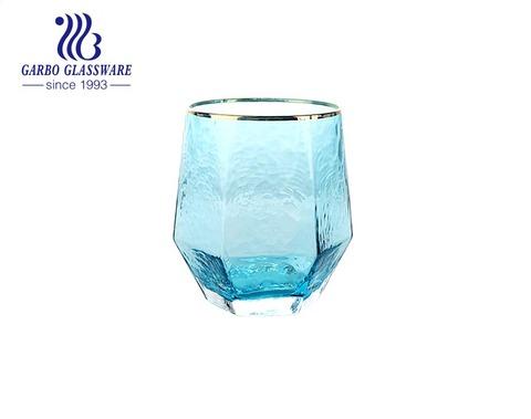 أكواب ذات شكل خاص سعة 400 مل لأواني زجاجية بلون أزرق صلبة
