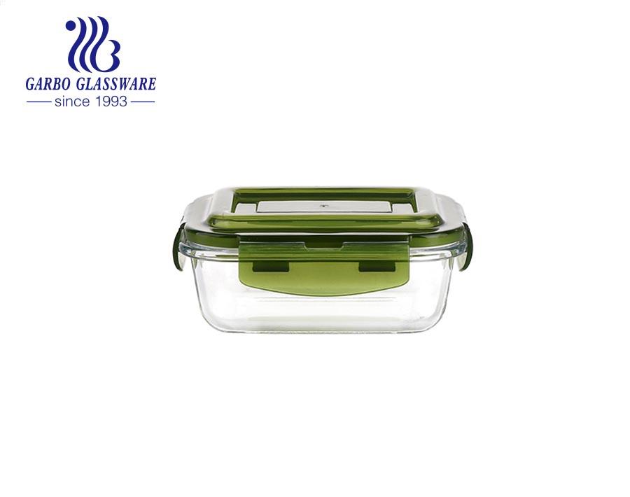 Hộp cơm hình chữ nhật bằng thủy tinh Pyrex 14oz có nắp silicone màu xanh lá cây