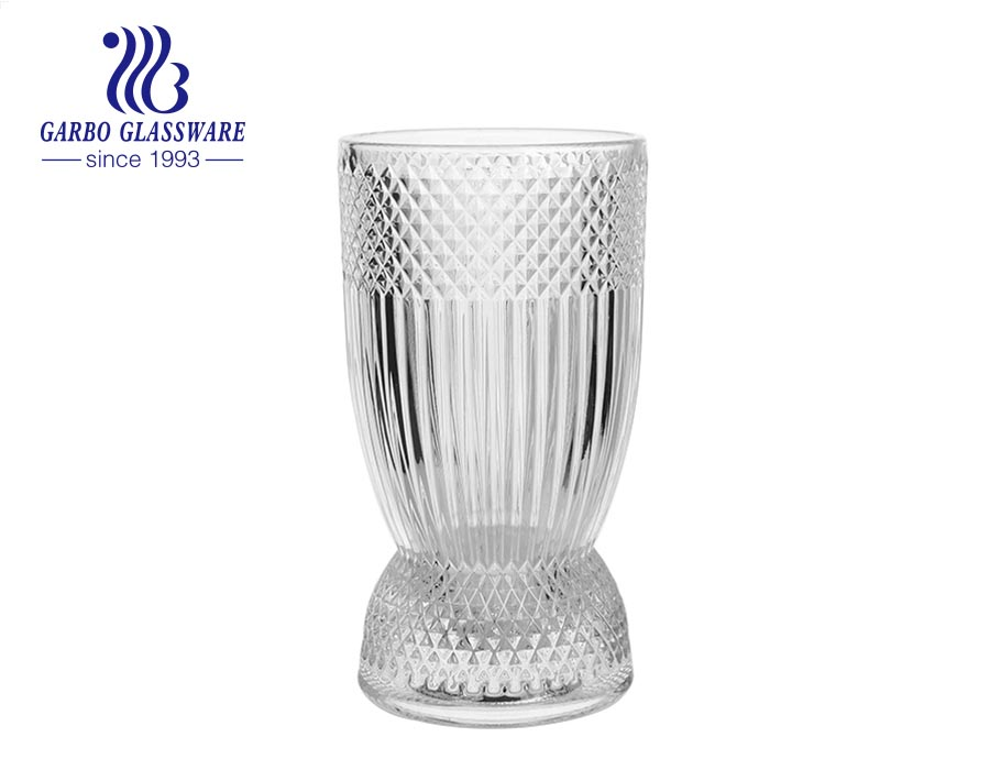 Tabletop Diamond design 7.5 inches height glass flora holder glass vase  glass storage cup