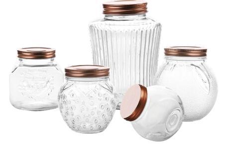 推奨される素敵な収納ジャー:ローズゴールドの金属製の蓋が付いたガラス製の収納容器ジャー