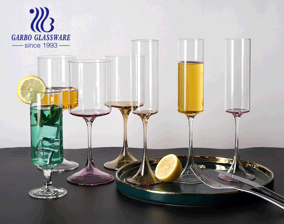 8oz hand made colored bottom glass stemware for champagne drinking