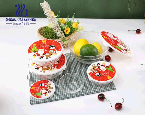 Thiết kế Giáng sinh Bộ bát salad thủy tinh 5 chiếc có nắp nhựa để đựng salad và thực phẩm