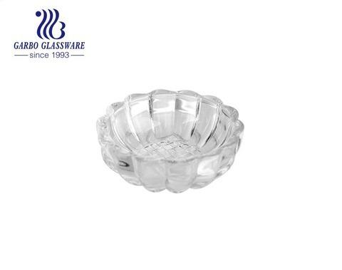 Cuenco de cristal de la fruta de la ensalada de la galleta de la forma de la flor de loto almacenado alto-blanco de la marca con diseño modificado para requisitos particulares