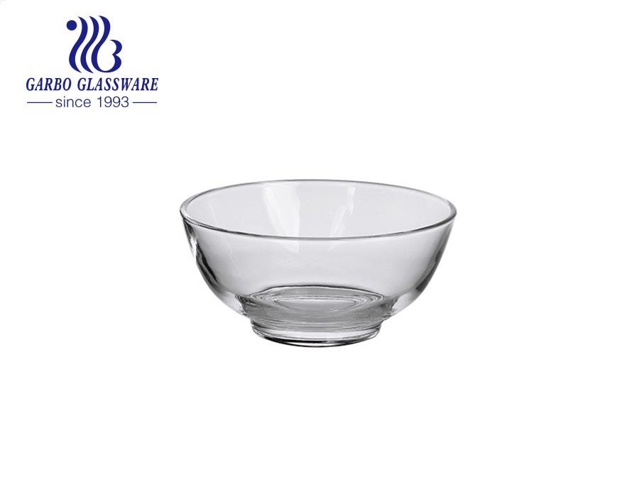 وعاء سلطة الآيس كريم الزجاجي الشفاف المصنوع آليًا من الزجاج الشفاف ذو اللون الأبيض المرتفع مقاس 5 بوصات مع نقش محفور بالخارج