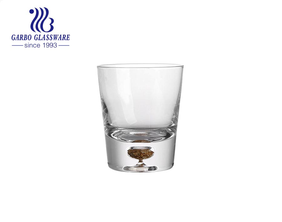 Exclusive multi sizes glass tumbler with real gold foil on the bottom