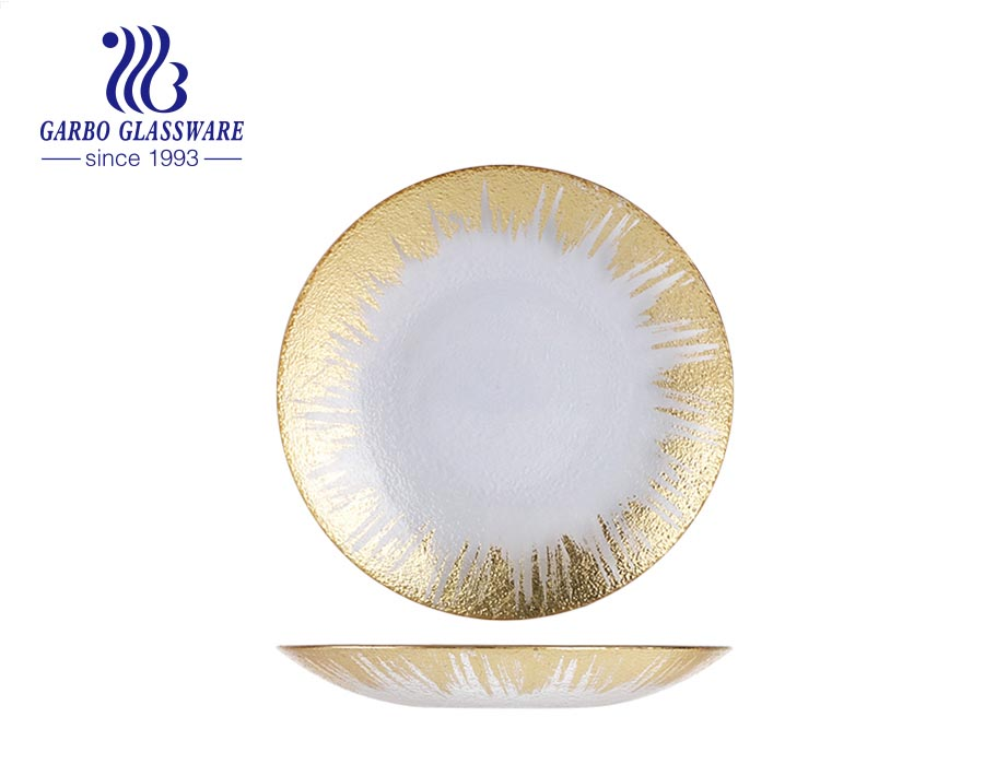 13 inch Wedding rose gold rim Baroque glass charger plate with elegant spray design