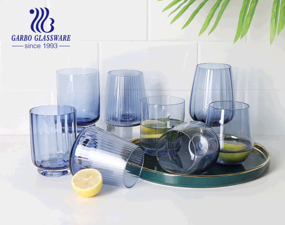 8oz egg shape high quality solid color glass stemware for juice drinking