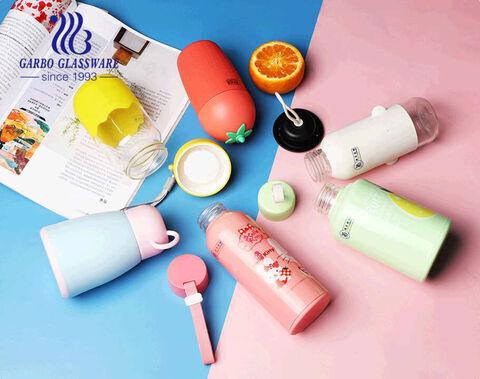 زجاجة زجاجية ملونة للأطفال 13 أوقية مع غطاء سيليكون وغطاء سيليكون