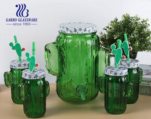 5pcs green color cacti design glass dispensers with mason jars drinking set