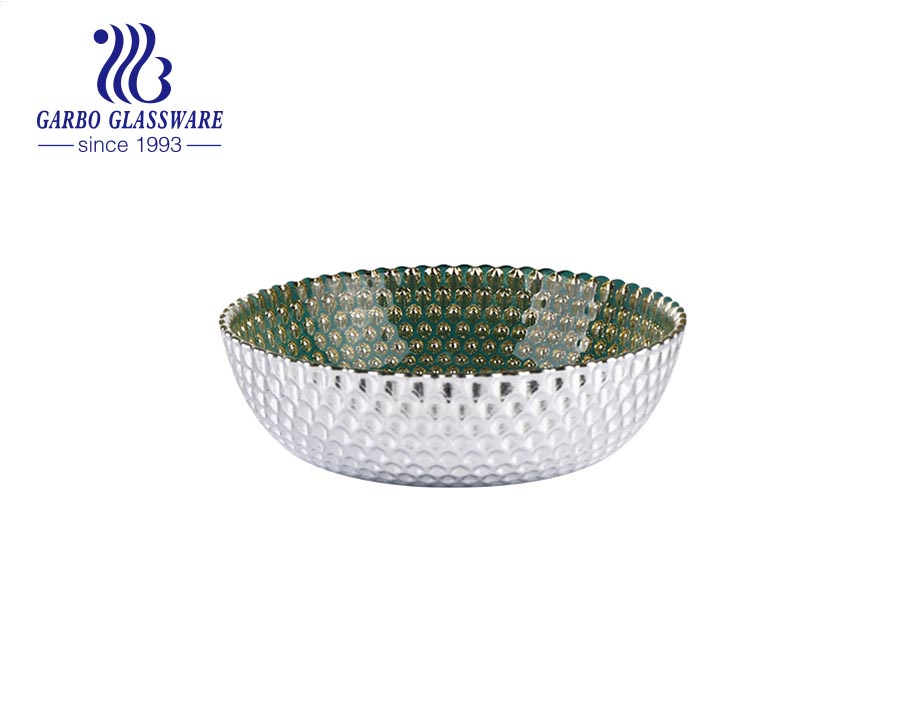 Wholesale olive green inside silver outside glass fruit salad flat bowl for daily use