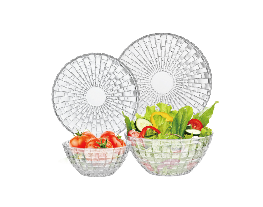 Wholesale factory 20 pcs high-white family dinner serving glass bowl glass plate set with decorative pattern