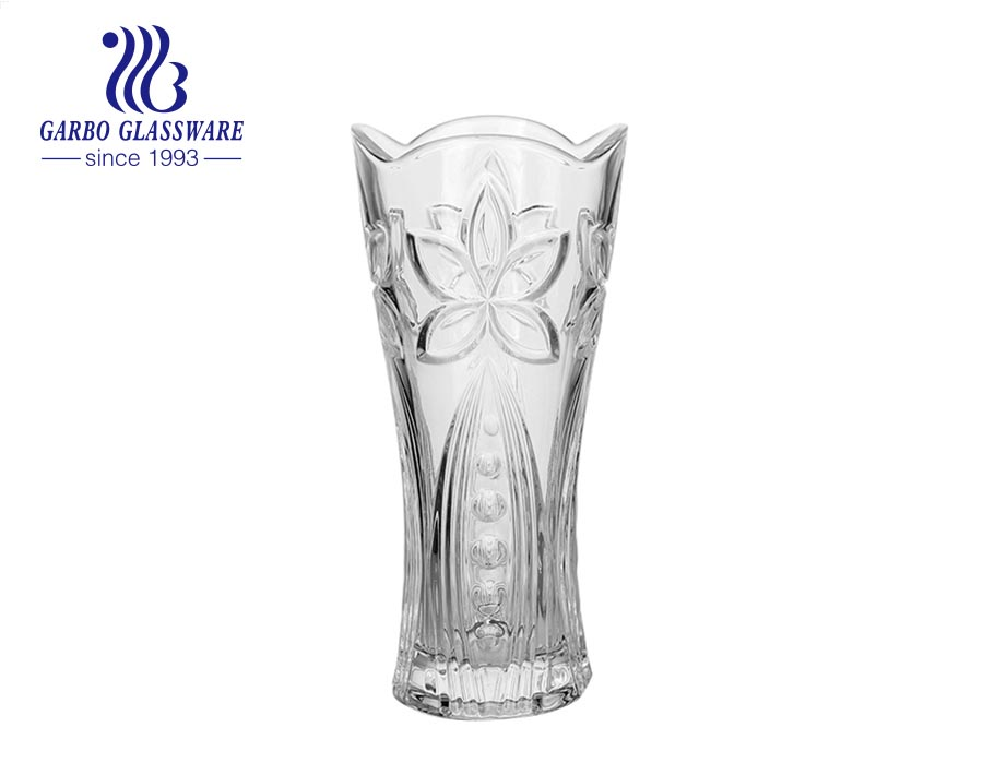 235mm height floor top crystal flower vase with a heavy stable base for hotel home party wedding use