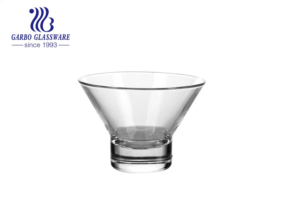 V -shaped 12oz Glass ice cream cup dessert bowl  lead free crystal glass cup