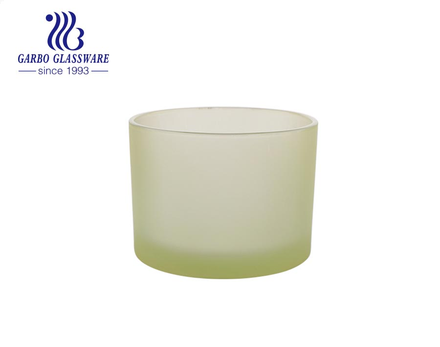 wholesale green frosted Glass Candle Jars Candle Holders