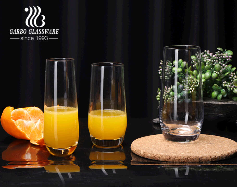 Multi sizes tall and slim shape glass tumbler for beverage juice drinking