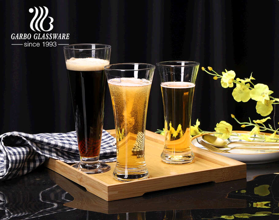 Pub style glass barware machine blown pilsner beer glass cups with multi shape designs