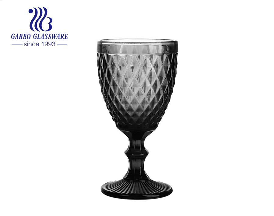 300ml high quality gray color glass goblets for home decoration juice drinking
