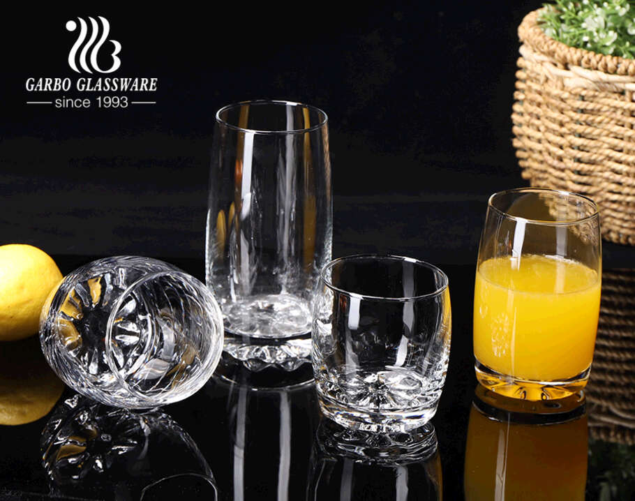 Cheap price Latin America style glass tumbler with engraved base