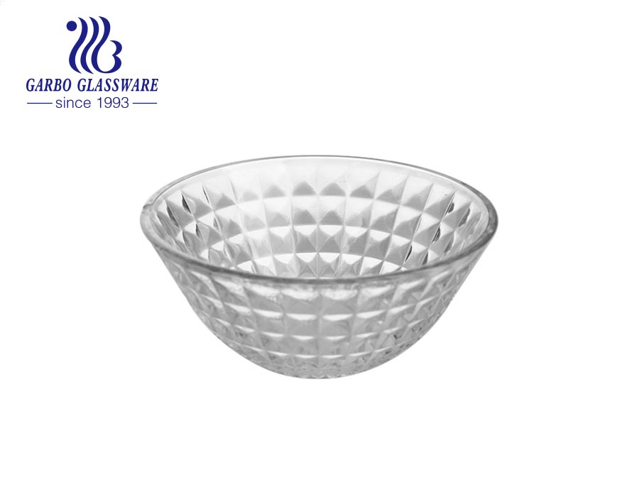 Factory cheap machine-made glass salad fruit bowl with engraved diamond design outside for dinner table