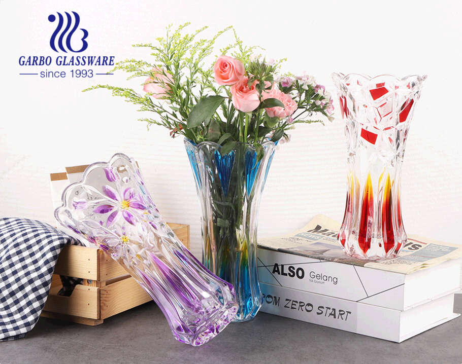 Blue strong and heavy base floor top  glass vase colored glass flora glasses holder