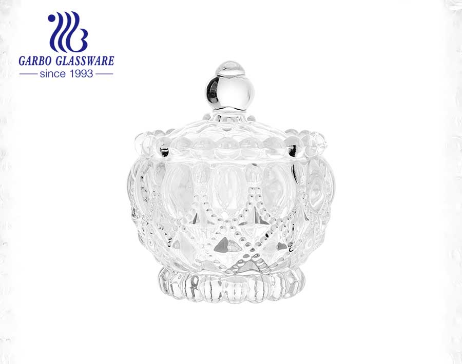 vintage clear glass candy dish with lid 160ml crystal glass bowl
