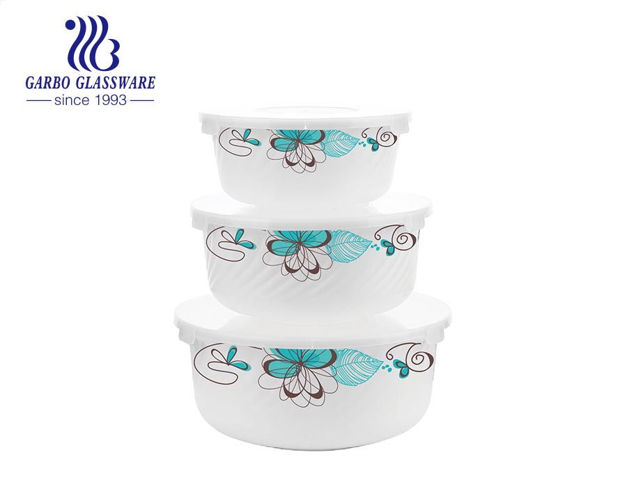 3pcs opal glass bowls set for home using kitchenware using with flower decals customized glassware wholesale supermarket