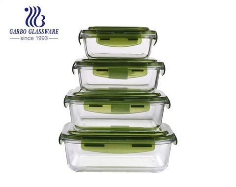 Eco Friendly Leak Proof Glass lunch box Meal Prep BPA Free Plastic Lid High quality Glass 4 pcs in set
