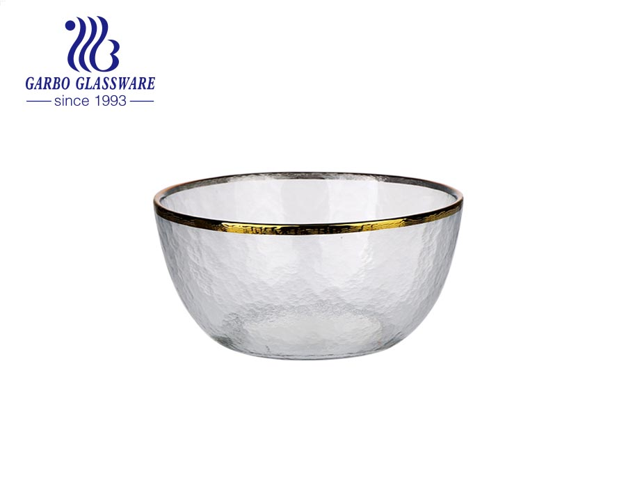 5.5-inch high-white machine-made wave design glass cereal fruit dessert bowl with golden rim