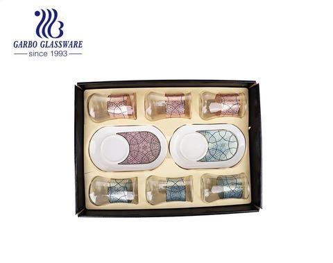 Hộp quà tặng 10 CÁI Gói decal hoa tùy chỉnh Tách trà thủy tinh Thổ Nhĩ Kỳ với bộ đĩa sứ