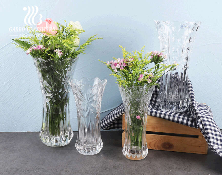 top rated clear crystal flower-shaped glass  flower holder glass for  wedding use