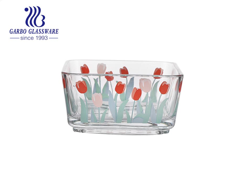 Wholesale high-white cheap machine-made square glass fruit salad bowl with colored flower grass decal